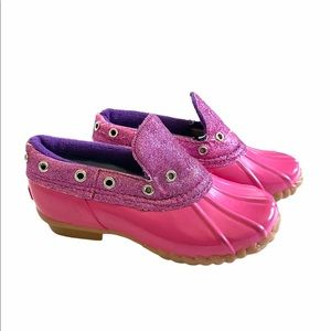 Khombu size 13 Pink Glitter Waterproof Duck Shoes